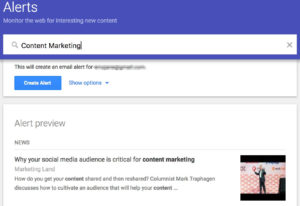 Google alerts for content marketing
