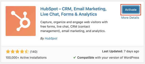 HubSpot and WordPress: Activating the plugin