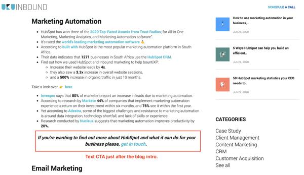 HubSpot and WordPress CTA placement