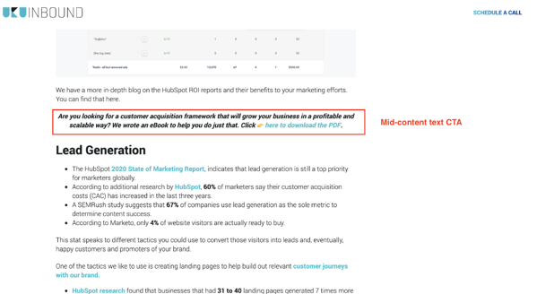 HubSpot and WordPress mid-content CTA placement